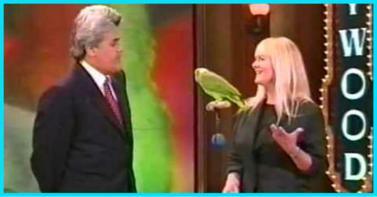 Barbara Heidenreich with Groucho the Singing Parrot on the Tonight Show
